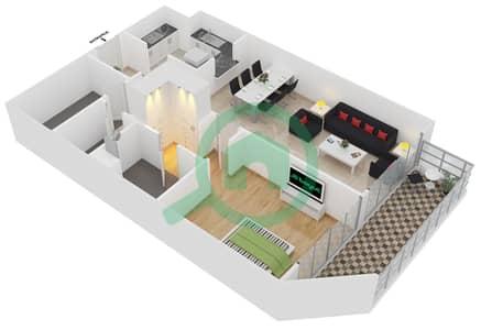 المخططات الطابقية لتصميم الوحدة 407 شقة 1 غرفة نوم - لايا رزيدنسز