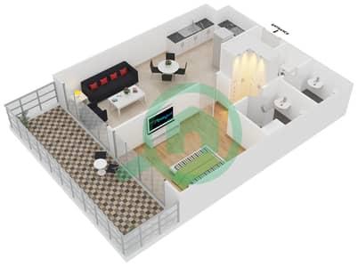 المخططات الطابقية لتصميم الوحدة 404 شقة 1 غرفة نوم - لايا رزيدنسز