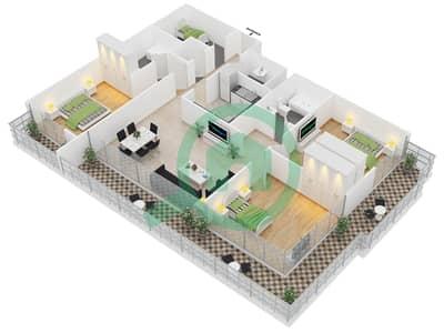 المخططات الطابقية لتصميم النموذج 6 شقة 3 غرف نوم - برج مانهاتن