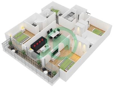 المخططات الطابقية لتصميم النموذج 5 شقة 3 غرف نوم - برج مانهاتن