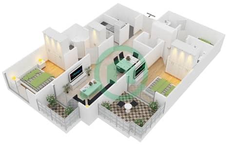المخططات الطابقية لتصميم النموذج 4 شقة 2 غرفة نوم - برج مانهاتن