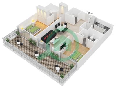 المخططات الطابقية لتصميم النموذج 3 شقة 2 غرفة نوم - برج مانهاتن
