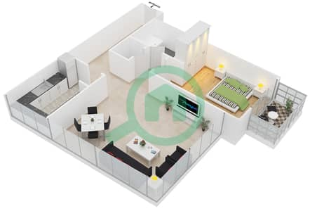 المخططات الطابقية لتصميم النموذج 1 شقة 1 غرفة نوم - برج مانهاتن