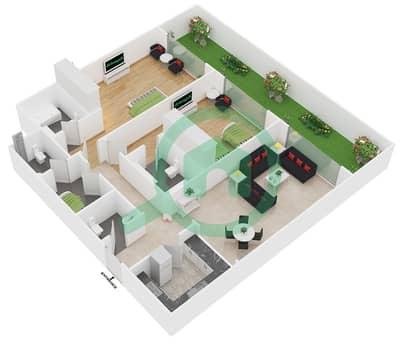 المخططات الطابقية لتصميم النموذج B شقة 2 غرفة نوم - سيزونز كوميونيتي