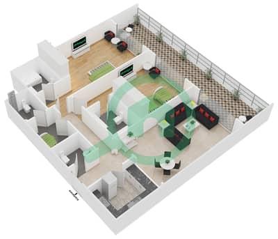 المخططات الطابقية لتصميم النموذج A شقة 2 غرفة نوم - سيزونز كوميونيتي