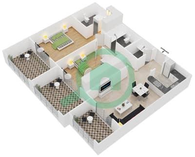 المخططات الطابقية لتصميم النموذج 1B شقة 2 غرفة نوم - سيزونز كوميونيتي