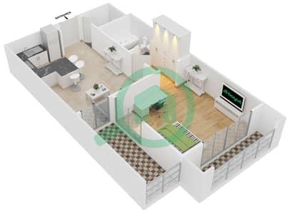 المخططات الطابقية لتصميم النموذج 2 شقة 1 غرفة نوم - سيزونز كوميونيتي