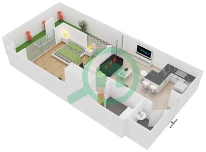 المخططات الطابقية لتصميم النموذج 1 شقة 1 غرفة نوم - سيزونز كوميونيتي