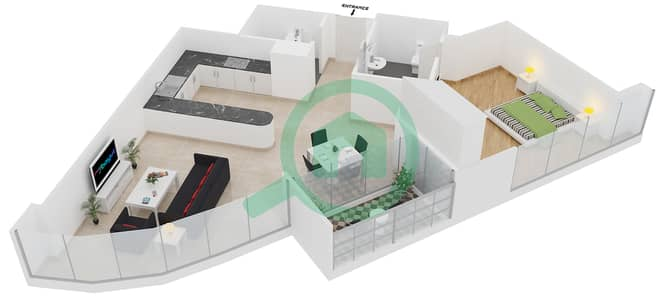 المخططات الطابقية لتصميم النموذج C شقة 1 غرفة نوم - مساكن ريف
