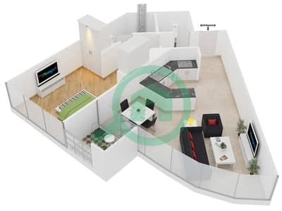 المخططات الطابقية لتصميم النموذج B شقة 1 غرفة نوم - مساكن ريف