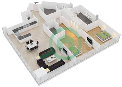 المخططات الطابقية لتصميم النموذج B شقة 2 غرفة نوم - مساكن ريف