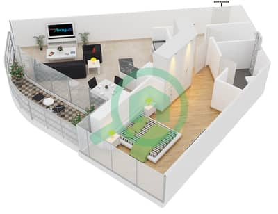 المخططات الطابقية لتصميم النموذج A شقة 1 غرفة نوم - مساكن ريف