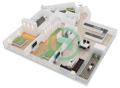 المخططات الطابقية لتصميم النموذج A شقة 2 غرفة نوم - مساكن ريف