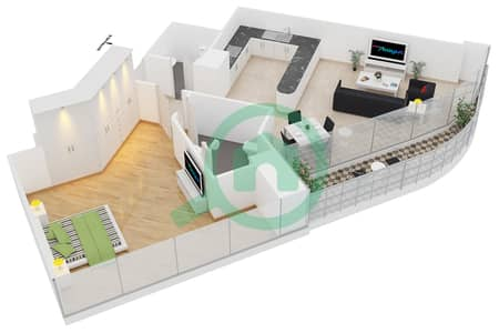 المخططات الطابقية لتصميم النموذج D شقة 1 غرفة نوم - ريف ريزيدنس