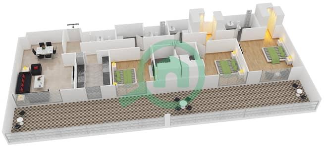 المخططات الطابقية لتصميم النموذج 16 شقة 3 غرف نوم - بلجرافيا