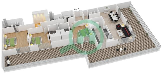 المخططات الطابقية لتصميم النموذج 15 شقة 3 غرف نوم - بلجرافيا
