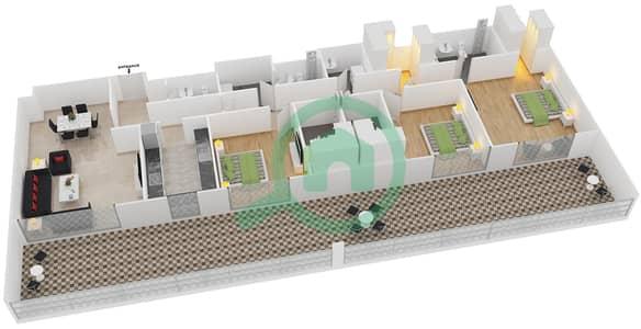 المخططات الطابقية لتصميم النموذج 9 شقة 3 غرف نوم - بلجرافيا