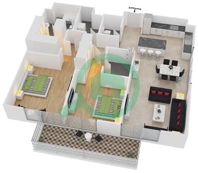المخططات الطابقية لتصميم النموذج 14 شقة 2 غرفة نوم - بلجرافيا