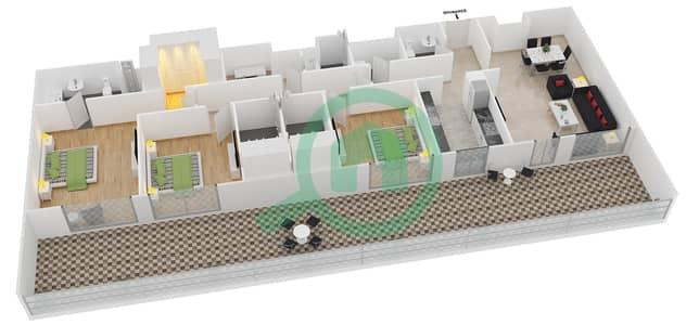 المخططات الطابقية لتصميم النموذج 14 شقة 3 غرف نوم - بلجرافيا