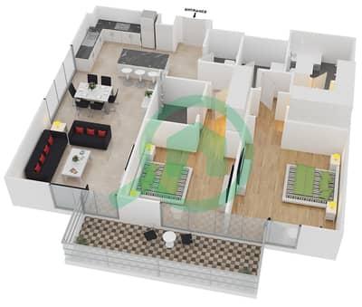 المخططات الطابقية لتصميم النموذج 13 شقة 2 غرفة نوم - بلجرافيا