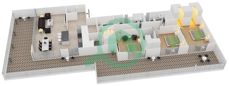 المخططات الطابقية لتصميم النموذج 13 شقة 3 غرف نوم - بلجرافيا