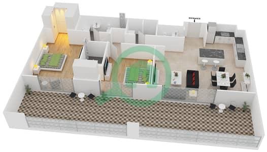 المخططات الطابقية لتصميم النموذج 12-A شقة 2 غرفة نوم - بلجرافيا