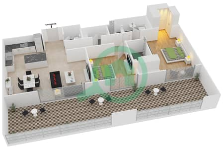 المخططات الطابقية لتصميم النموذج 12 شقة 2 غرفة نوم - بلجرافيا