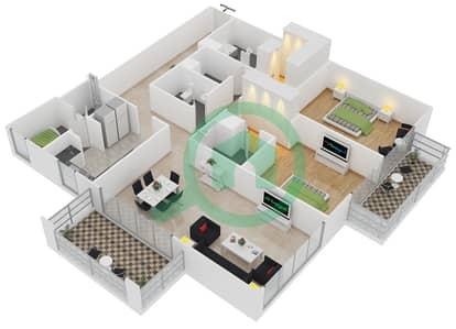 المخططات الطابقية لتصميم النموذج 8 شقة 2 غرفة نوم - بلجرافيا