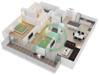 المخططات الطابقية لتصميم النموذج 5 شقة 2 غرفة نوم - بلجرافيا