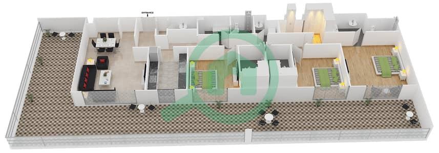 المخططات الطابقية لتصميم النموذج 5 شقة 3 غرف نوم - بلجرافيا