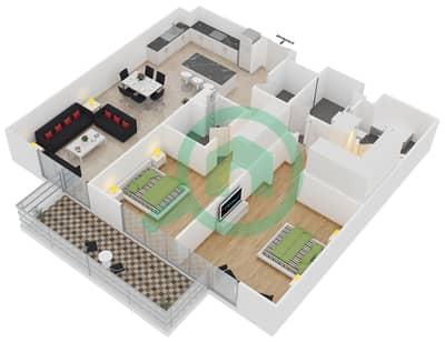 المخططات الطابقية لتصميم النموذج 1-C شقة 2 غرفة نوم - بلجرافيا
