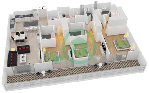 المخططات الطابقية لتصميم النموذج 1-C شقة 3 غرف نوم - بلجرافيا