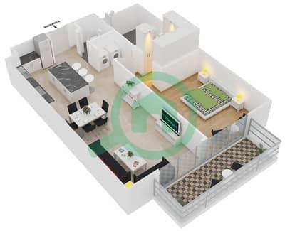 المخططات الطابقية لتصميم النموذج 7 شقة 1 غرفة نوم - بلجرافيا