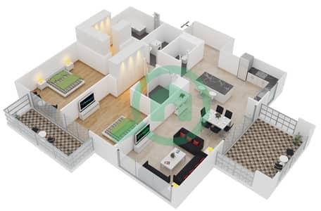 المخططات الطابقية لتصميم النموذج 7 شقة 2 غرفة نوم - بلجرافيا