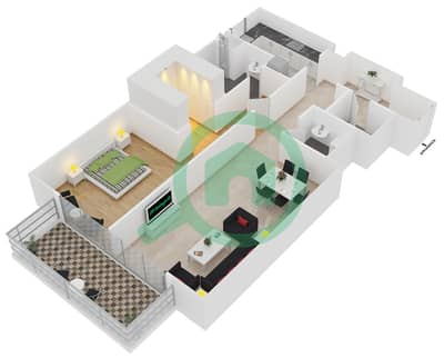 المخططات الطابقية لتصميم النموذج 3 شقة 1 غرفة نوم - بلجرافيا
