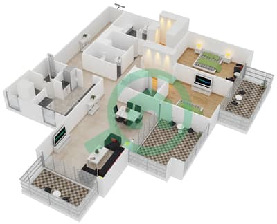 المخططات الطابقية لتصميم النموذج 3 شقة 2 غرفة نوم - بلجرافيا