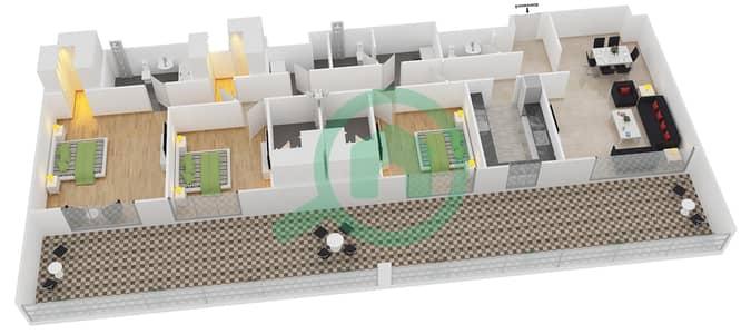 المخططات الطابقية لتصميم النموذج 3 شقة 3 غرف نوم - بلجرافيا