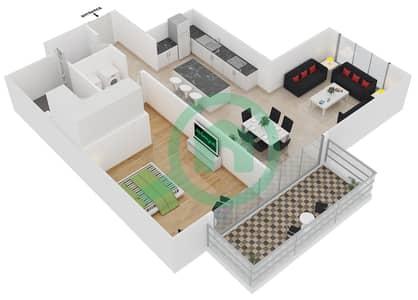 المخططات الطابقية لتصميم النموذج 2 شقة 1 غرفة نوم - بلجرافيا