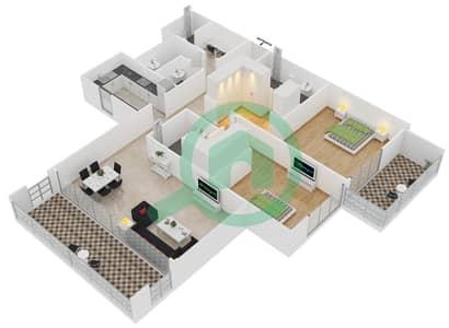 المخططات الطابقية لتصميم النموذج 2 شقة 2 غرفة نوم - بلجرافيا