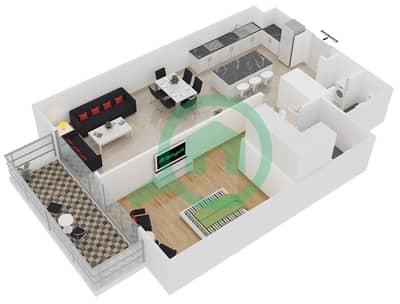 المخططات الطابقية لتصميم النموذج 1-E شقة 1 غرفة نوم - بلجرافيا