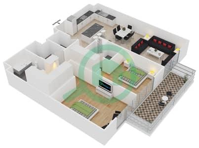 المخططات الطابقية لتصميم النموذج 1-E شقة 2 غرفة نوم - بلجرافيا