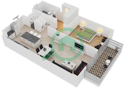 المخططات الطابقية لتصميم النموذج 1-D شقة 1 غرفة نوم - بلجرافيا