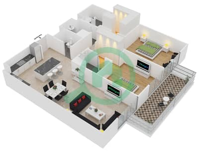 المخططات الطابقية لتصميم النموذج 1-D شقة 2 غرفة نوم - بلجرافيا