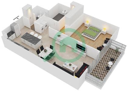 المخططات الطابقية لتصميم النموذج 1-B شقة 1 غرفة نوم - بلجرافيا
