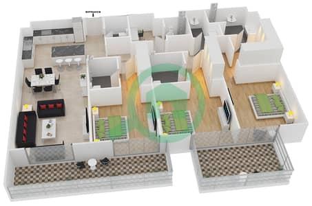 المخططات الطابقية لتصميم النموذج 1-B شقة 3 غرف نوم - بلجرافيا