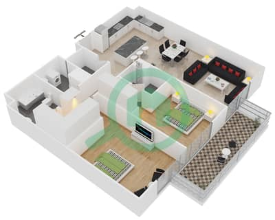 المخططات الطابقية لتصميم النموذج 1-A شقة 2 غرفة نوم - بلجرافيا