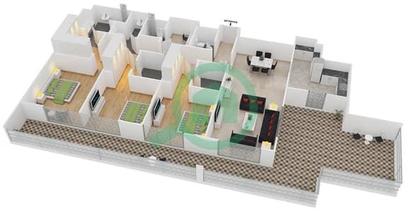 المخططات الطابقية لتصميم النموذج 1-A شقة 3 غرف نوم - بلجرافيا