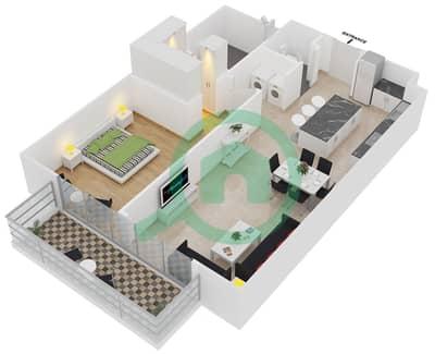 المخططات الطابقية لتصميم النموذج 1 شقة 1 غرفة نوم - بلجرافيا
