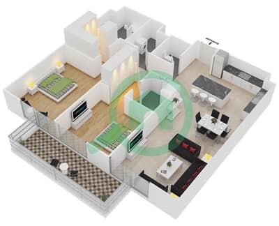 المخططات الطابقية لتصميم النموذج 1 شقة 2 غرفة نوم - بلجرافيا