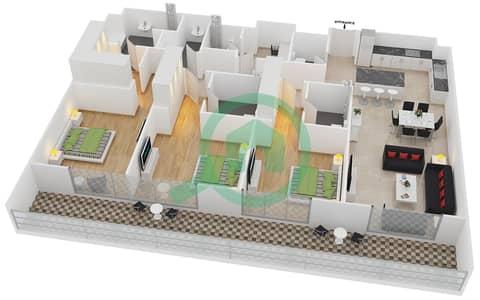 المخططات الطابقية لتصميم النموذج 1 شقة 3 غرف نوم - بلجرافيا